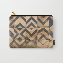 Chevron Scatter Black and Wood Carry-All Pouch