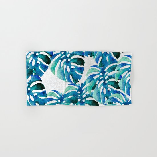 Monstera Pattern Green And Blue Hand & Bath Towel