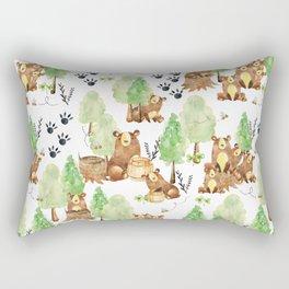 Honey Bears Woodland Animal Pattern Rectangular Pillow