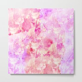Girly Pink and Purple Painted Sparkly Watercolor Metal Print