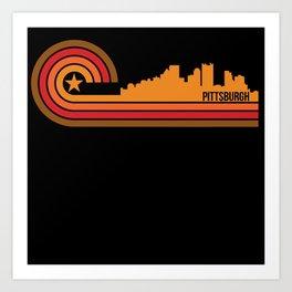 Retro Style Pittsburgh Pennsylvania Skyline Art Print