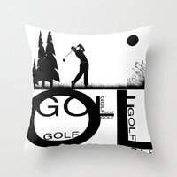 golf Throw Pillows featuring Golf, golf, golf! b&w by South43