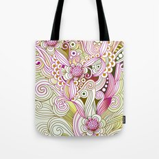 Flower fire   yellow, purple, green and ocre Tote Bag