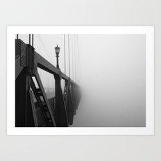 St Johns Bridge in Fog 3, Portland, Oregon Art Print