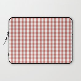 Camellia Pink and White Gingham Check Plaid Laptop Sleeve