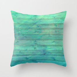 steampunk green distressed stained painted wood board wall Throw Pillow