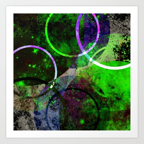 Other Dimensions - Abstract, geometric, textured, space themed artwork Art Print