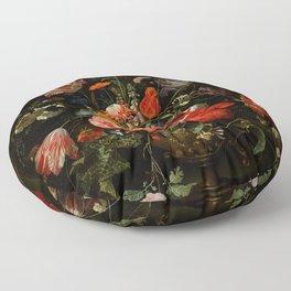 "Abraham Mignon ""Flowers in a Metal Vase"" c. 1670 Floor Pillow"