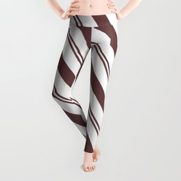 Pantone Red Pear and White Stripes Angled Lines Leggings