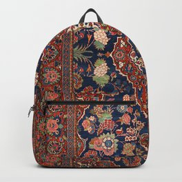 Persia Kashan Old Century Authentic Colorful Lattice Red Medallian Vintage Rug Pattern Backpack