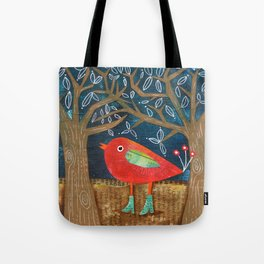 Red Bird in Galoshes Tote Bag