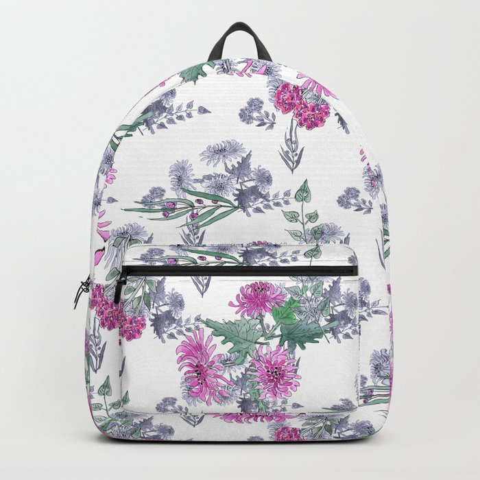 Watercolor floral pattern . 11 Backpack