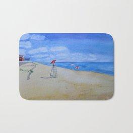 Salisbury Beach Watercolor Painting Bath Mat