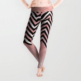 Modern black rose pink glitter lavender marble chevron Leggings