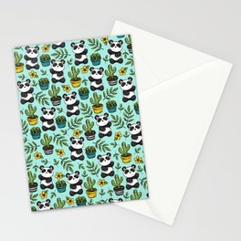 Panda Bear Print, Baby Panda, Blue and Green, Cute Panda Pattern Stationery Cards
