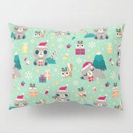 Holiday Woodland Animal Surface Pattern Design - Mint / Cute Animal Pillow Sham