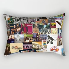 Classic Rock And Roll Albums Collage Rectangular Pillow