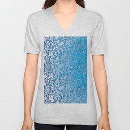 Blue Scroll Unisex V-Neck