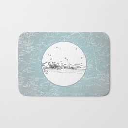 Anchorage, Alaska City Skyline Illustration Drawing Bath Mat