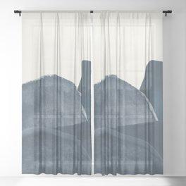 Blue Landscape Sheer Curtain