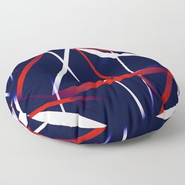 Seamless Red and White Stripes on A Blue Background Floor Pillow
