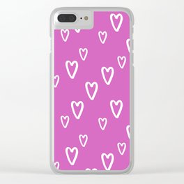 Lovely love story - white hand drawn hearts on hot pink background Clear iPhone Case