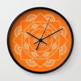 Mandala 01 - White on Orange Wall Clock