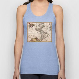 1658 Map of North America and South America with 2015 enhancements Unisex Tank Top