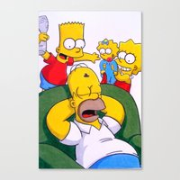 simpsons Canvas Prints featuring Simpsons by Brian David