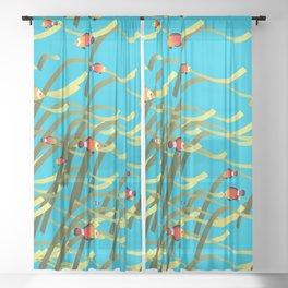 Underwater scene Sheer Curtain