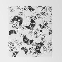 Video Game Black on White Throw Blanket