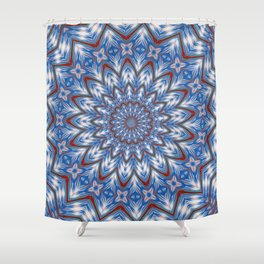 Seventeen Pointed Star In Red White and Blue Shower Curtain