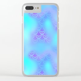 Cyan Blue and Violet Mermaid Tail Abstraction. Magic Fish Scale Pattern Clear iPhone Case