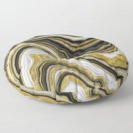 black gold glitter marble art Floor Pillow