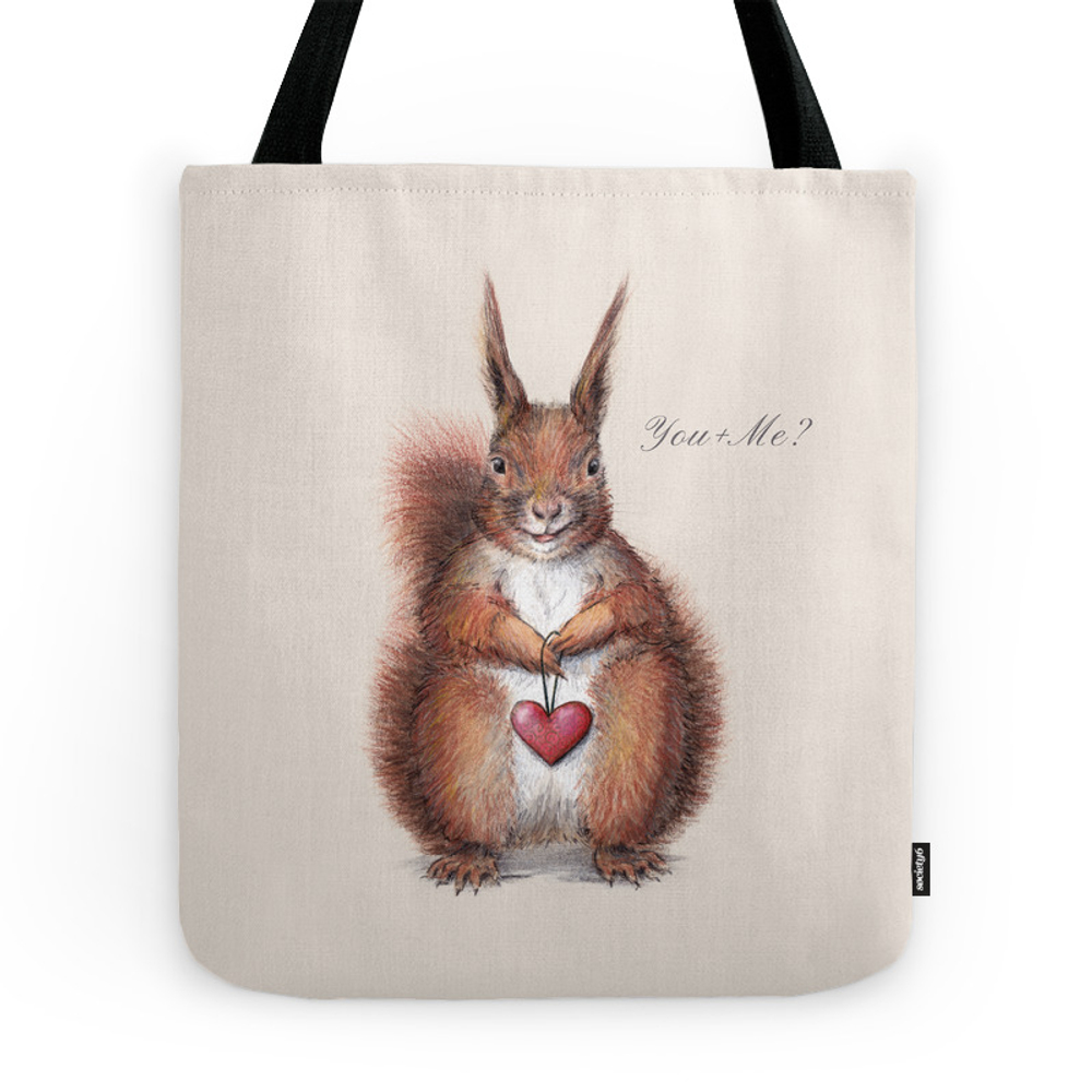 Squirrel Heart Love Tote Purse by lenasvalforshedin (TBG976909) photo