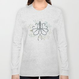 Ghostly Squid Damask Long Sleeve T-shirt