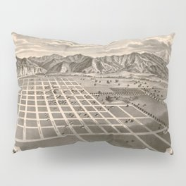 Vintage Bird's Eye Map Illustration - Azusa, California (1887) Pillow Sham