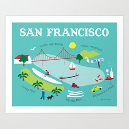 San Francisco, California - Collage Illustration by Loose Petals Art Print
