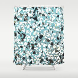 Terrazzo of 80's blue Shower Curtain