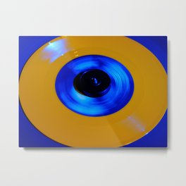 Yellow Blue Record Metal Print