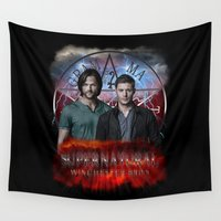 dean winchester Wall Tapestries featuring Supernatural Winchester Bros 2 by Jamie Fontaine