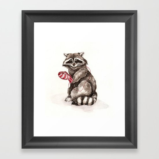 Pensive Raccoon in Red Mittens. Winter Season. Framed Art Print