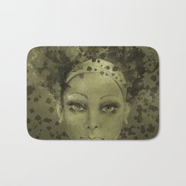 Abstract  Female Face with  card suits Bath Mat