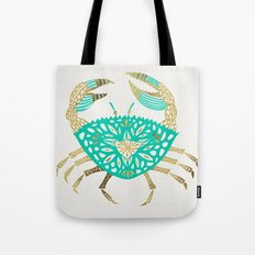 Crab – Turquoise & Gold Tote Bag