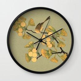 Bird in Ginkgo Tree Wall Clock