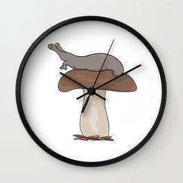 mushroom with slug on cap Wall Clock