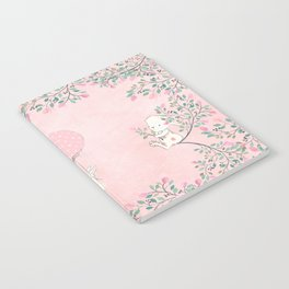 Cute flying Bunny with Balloon and Flower Rabbit Animal on pink floral background Notebook