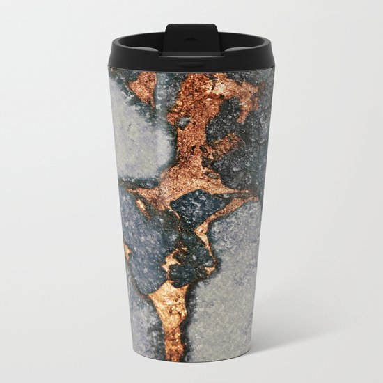 GREY & GOLD GEMSTONE Metal Travel Mug