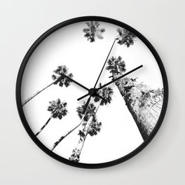 {2 of 2} Palm Trees = Happy // Black and White Summer Sky Wall Clock