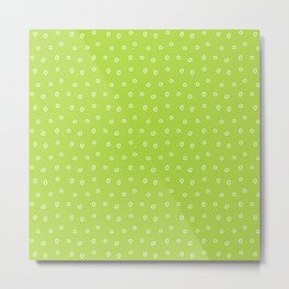 Green background with white minimal hand drawn ring pattern Metal Print